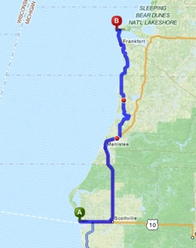 Map from Ludington to Betsie Point
