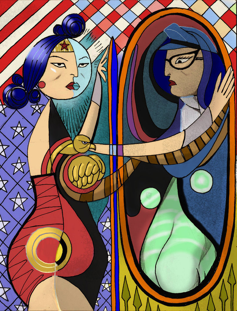Wonder Woman in Picasso Girl Before a Mirror